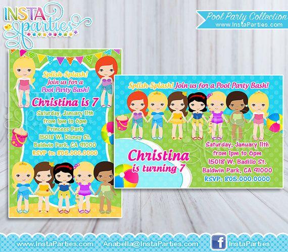 Princess Pool Party Invitation girl   Princesses Pool Party - birthday invitation swimming party