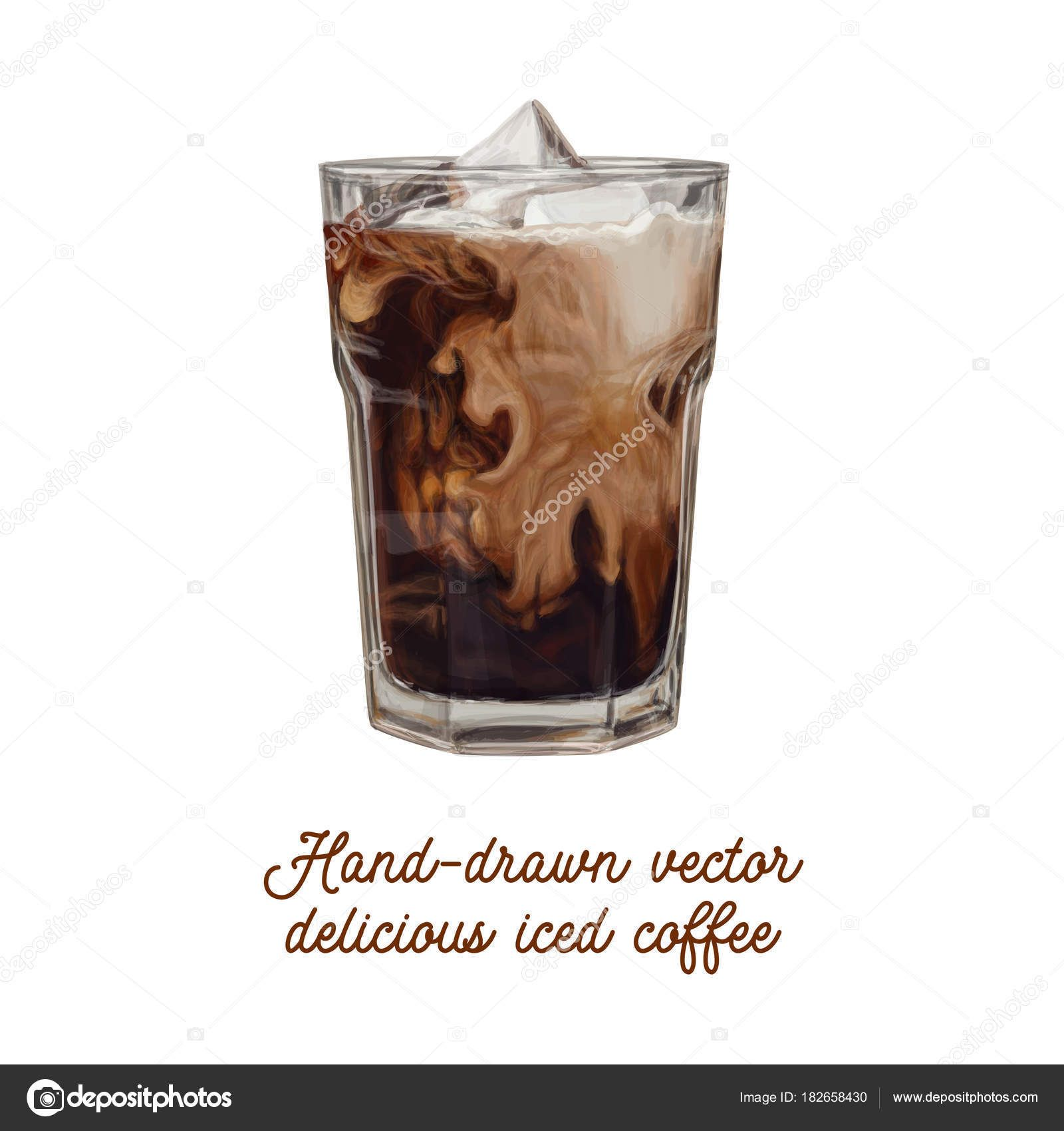 Iced Coffee Vector Hand Drawn Illustration Advertising Americano Bean Beverage