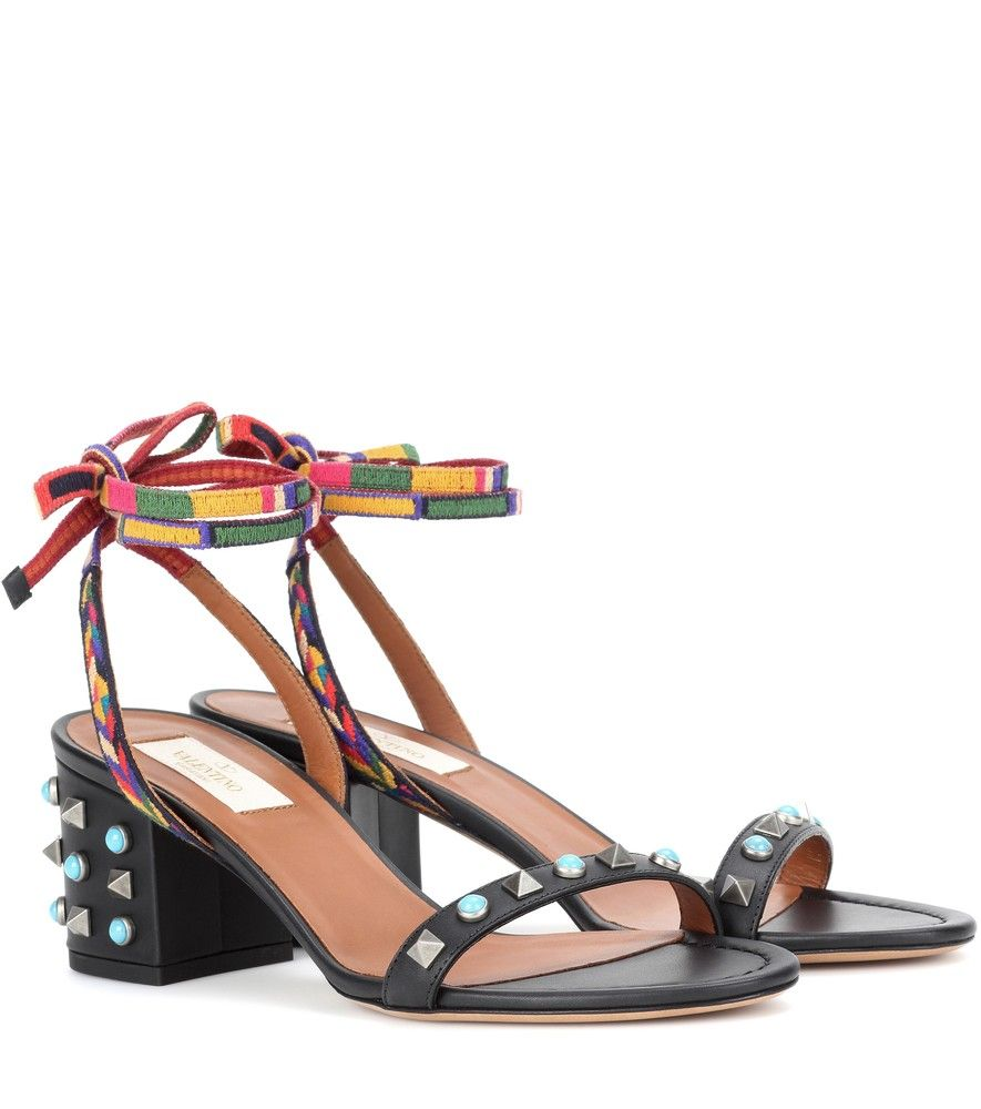 38cc3e33a7de Valentino - Valentino Garavani Rockstud Rolling embellished leather sandals  - Balanced on a retro-style block heel