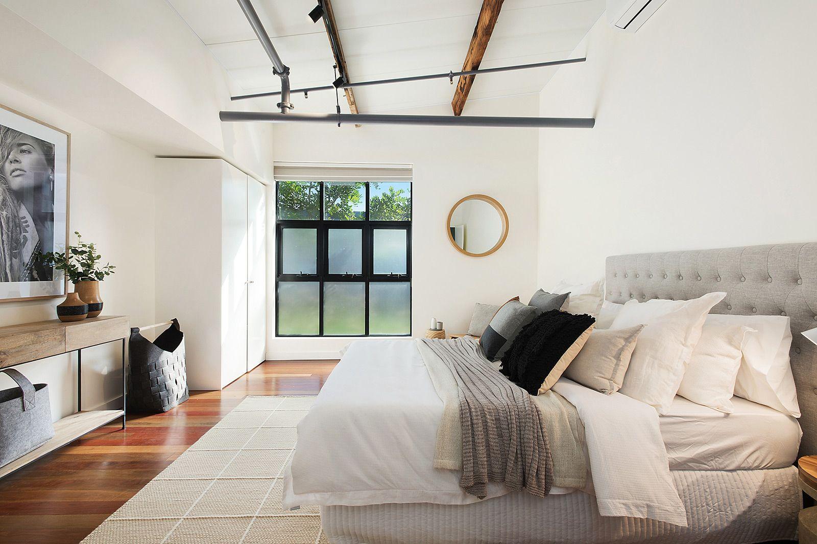 Bowerbird interiors bedroom pillow cushion grey linen print design