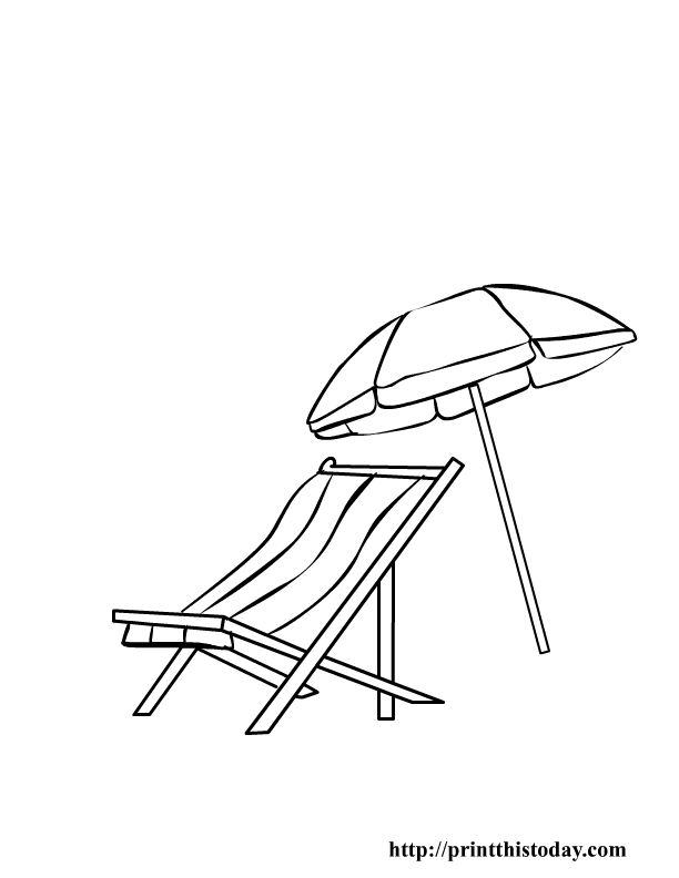 Beach chair and Parasol Coloring Pages Pinterest Beach