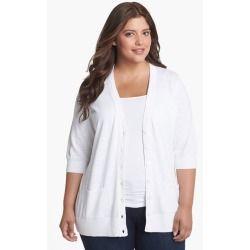 Where To Buy Girlfriend Elbow Sleeve Cardigan (Plus Size) White 3X ...