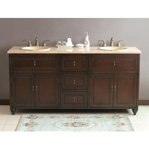 Photographic Gallery Virtu USA Ostia Dark Antique Cherry Travertine Double Sink Bathroom Vanity