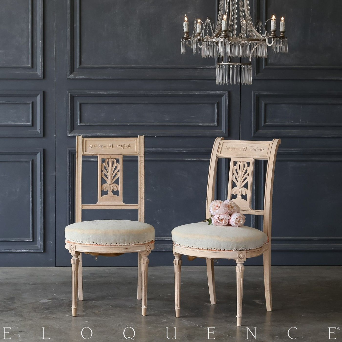 Eloquence Set of 10 Antique Bleached Wood Dining Chairs 1900