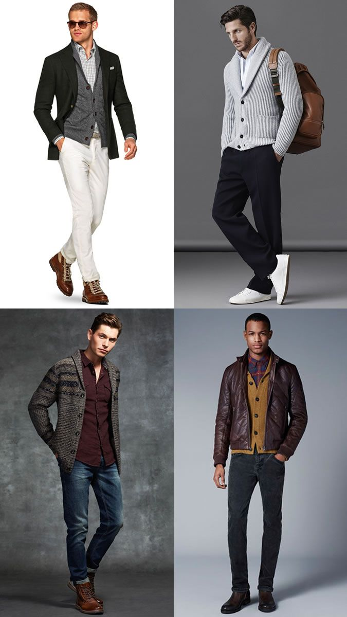 How to wear a shirt and shawl collar cardigan for autumn  f2e10049c88