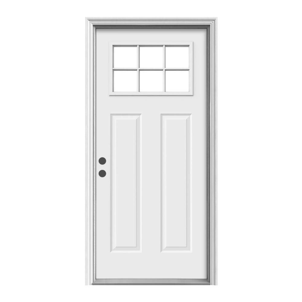 Jeld Wen 36 In X 80 In 6 Lite Craftsman Primed Fiberglass Prehung Right Hand Inswing Front Door Thdjw191000007 The Home Depot Craftsman Front Doors Steel Entry Doors Entry Doors