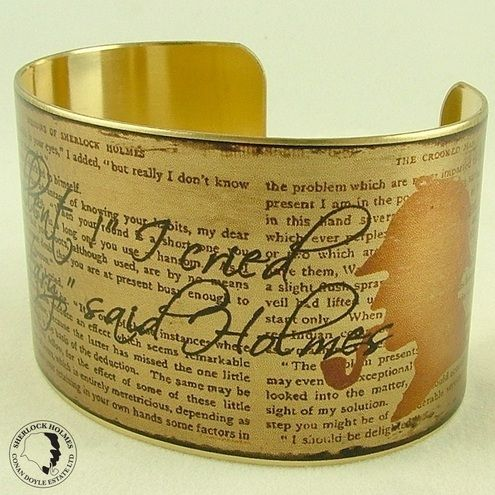Sherlock Holmes Literary Quote The Impossible and Improbable – Brass Cuff Bracelet