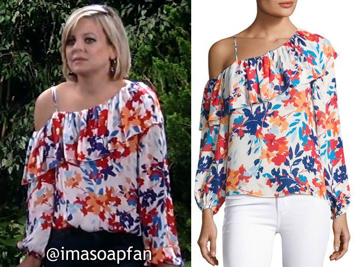 22c285665e51b5 Maxie Jones s One-Shoulder Floral Print Silk Blouse - General Hospital