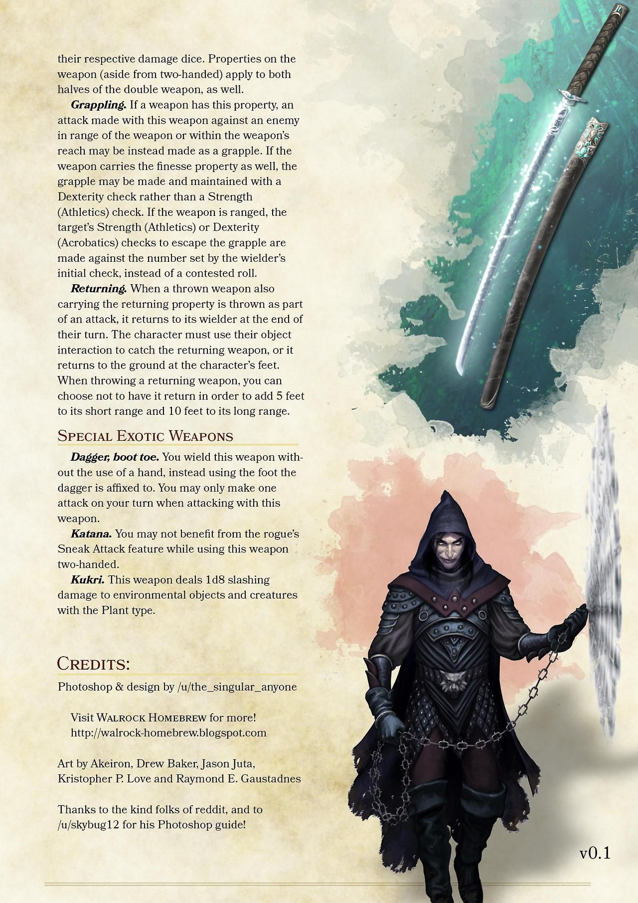 "We-are-rogue: ""Exotic Weapons Rules For D&D 5e, Homebrew By The_singular_anyone / Reddit """