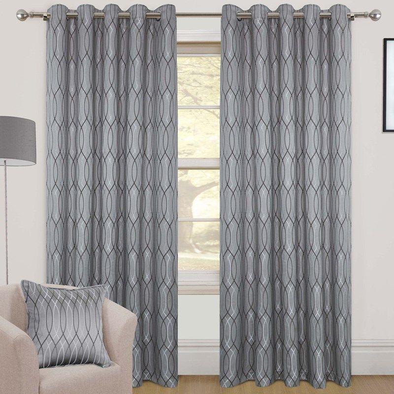 8fa69190cba Avon Silver Ready Made Eyelet Curtains