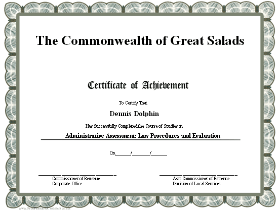 This Printable Certificate Of Achievement Is Bordered In