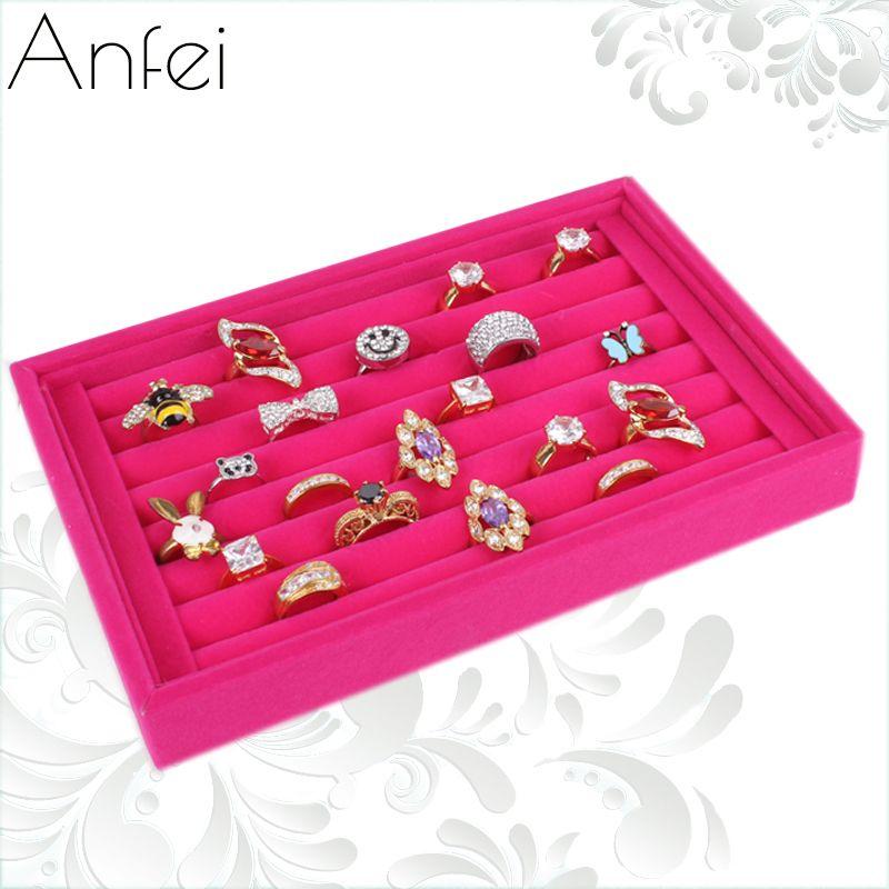 Red Velvet Ring Plate Stud Earring Storage Box Jewelry Organizer Accessories Plaid Display Rack Holder