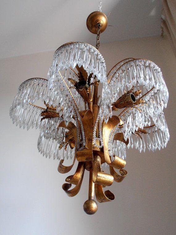 Italian Antique Chandelier Rare Vintage Brass Gilded Aqua Blue Birdcage Crystal Chandelier Glass Cryst Vintage Chandelier Glass Chandelier Beautiful Chandelier