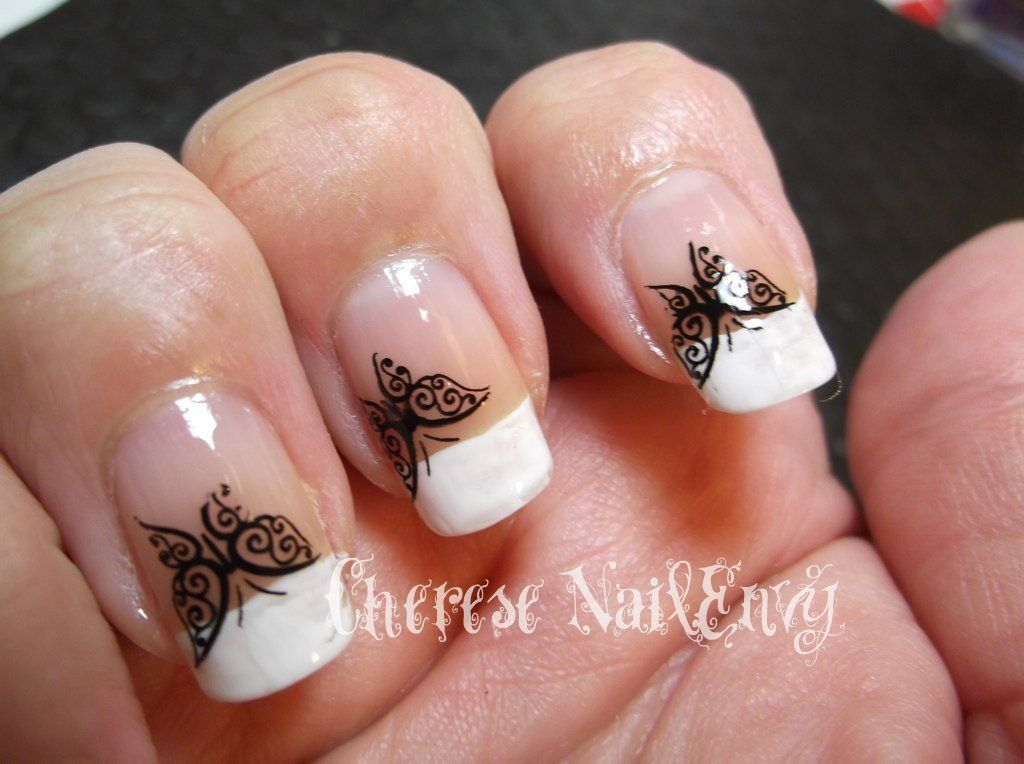 white french tip nail designs | French tips with Black Butterflies ...