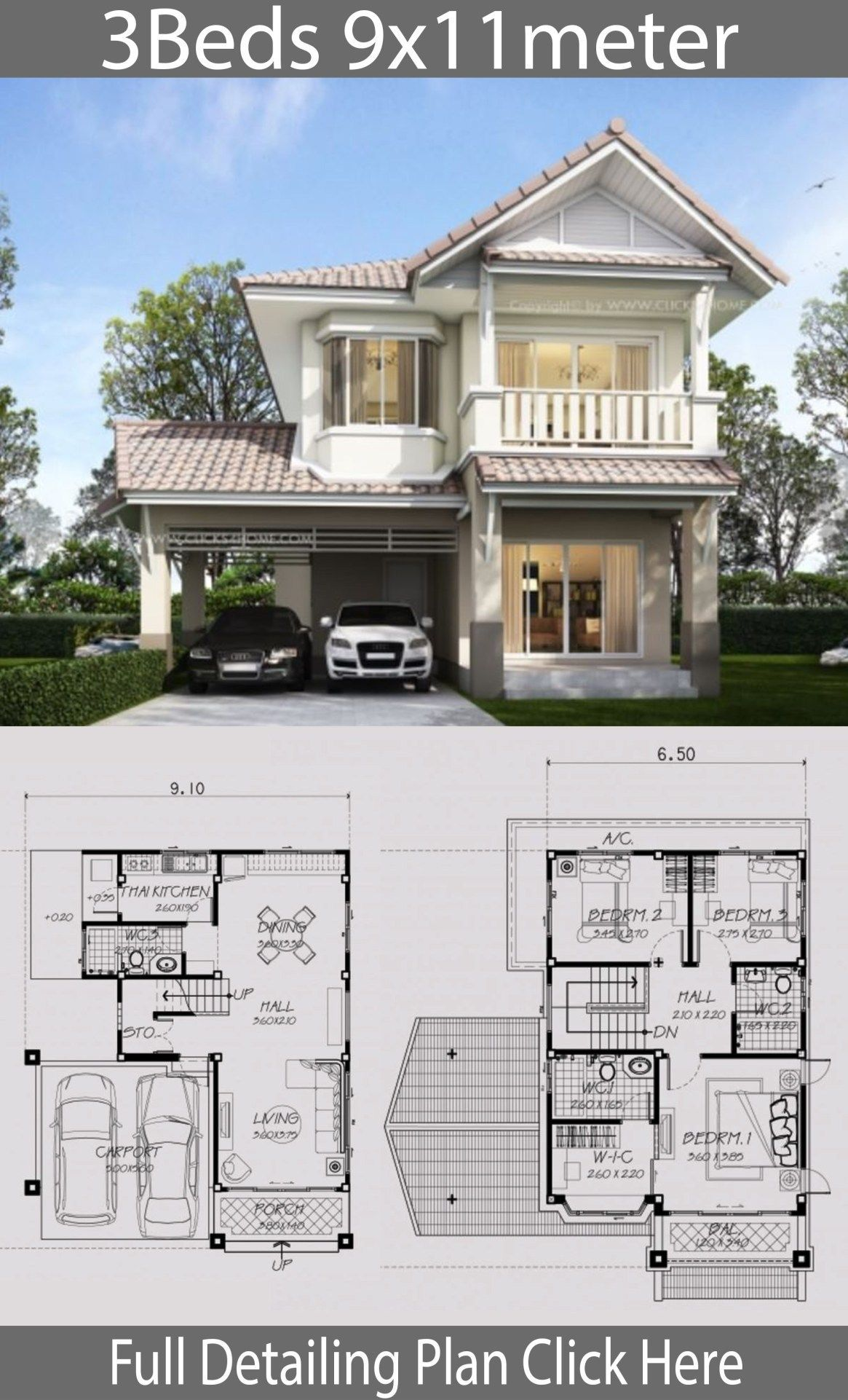 Home Design Plan 9x11m With 3 Bedrooms 3 9x11m Bedrooms Design Home Plan Wi In 2020 House Designs Exterior Architectural House Plans Modern Style House Plans