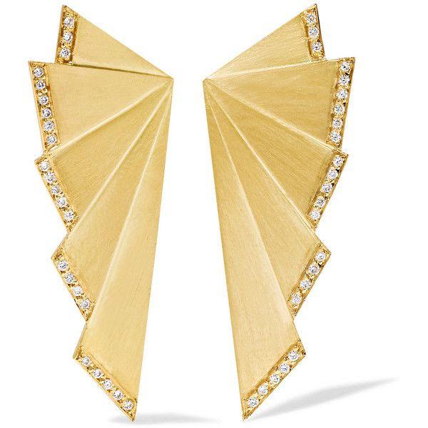 Ileana Makri Fan 18-karat gold diamond earrings (10.965 BRL) ❤ liked on Polyvore featuring jewelry, earrings, accessories, gold, deco jewelry, art deco earrings, 18 karat gold jewelry, 18k jewelry and 18 karat gold earrings