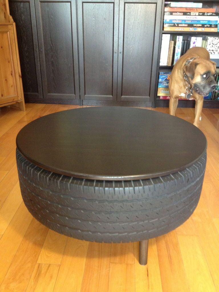 recycled tire coffee table | pneus reciclados, arte com