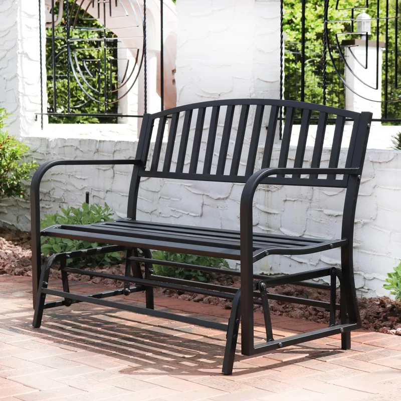 Tomasello Loveseat Glider Bench In 2020 Rocking Bench Patio Rocking Chairs Patio Chairs
