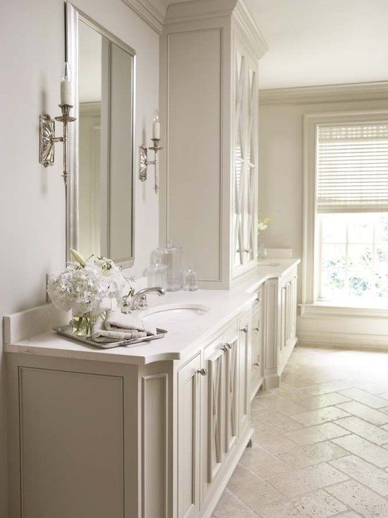 The Best Cream Bathrooms Herringbone Ivory Travertine Floors And A Crema Marfil Countertop Are Often Paired Together By Terrie