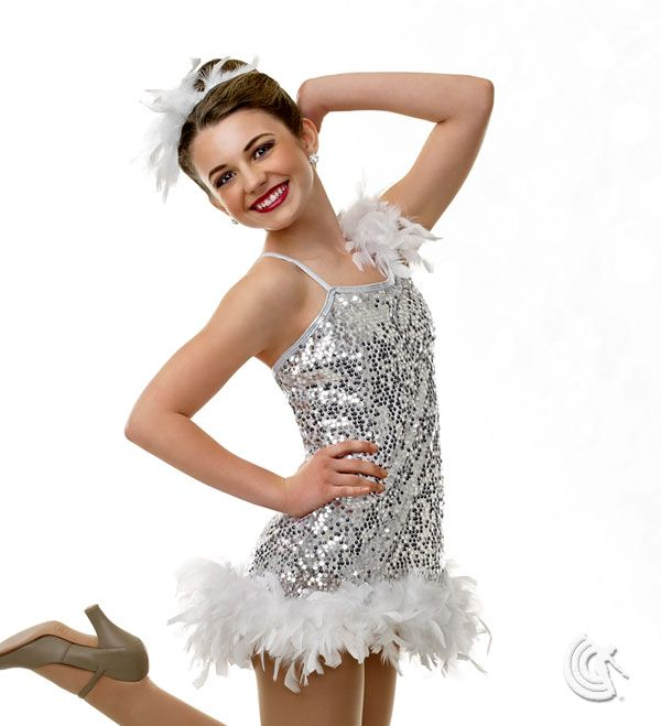 Curtain Call Costumes® - Ruffled Rumba (also in Purple, Blue & Pink) Asymmetrical sequin mesh dress with nylon/spandex leotard and boa trim. INCLUDES: boa headdress. Troupe price: $65 AUD - $70 AUD