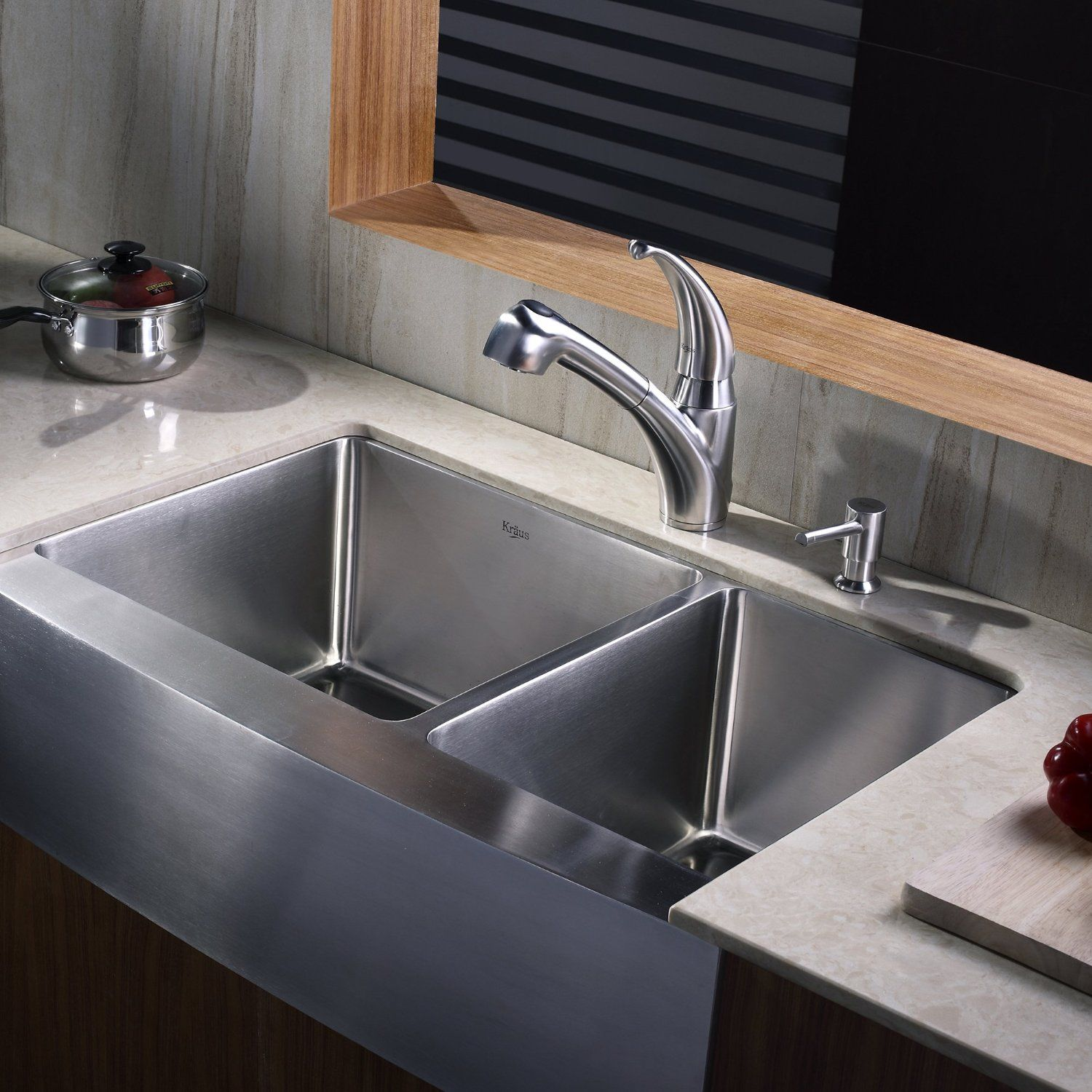 Kraus 33 inch Farmhouse Apron 60 40 Double Bowl 16 gauge Stainless