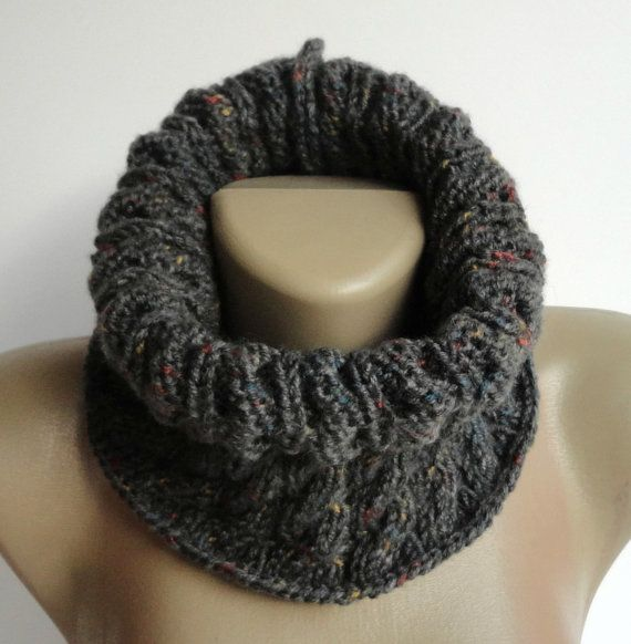 smoked gray cowl - men scarf - women - unisex cowl neck - neckwarmer , infinity scarves on Etsy, $28.00