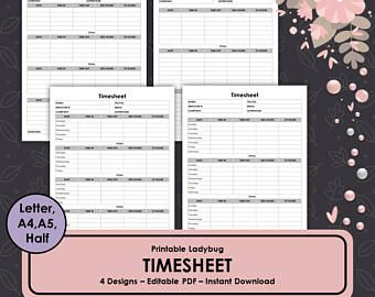 Printable Timesheet Tracker Hours Log Hours Tracker Contractor