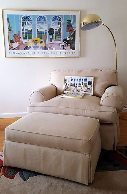 Charmant Bassett Linen Colored Chair And A Half With Matching Ottoman On Wheels,