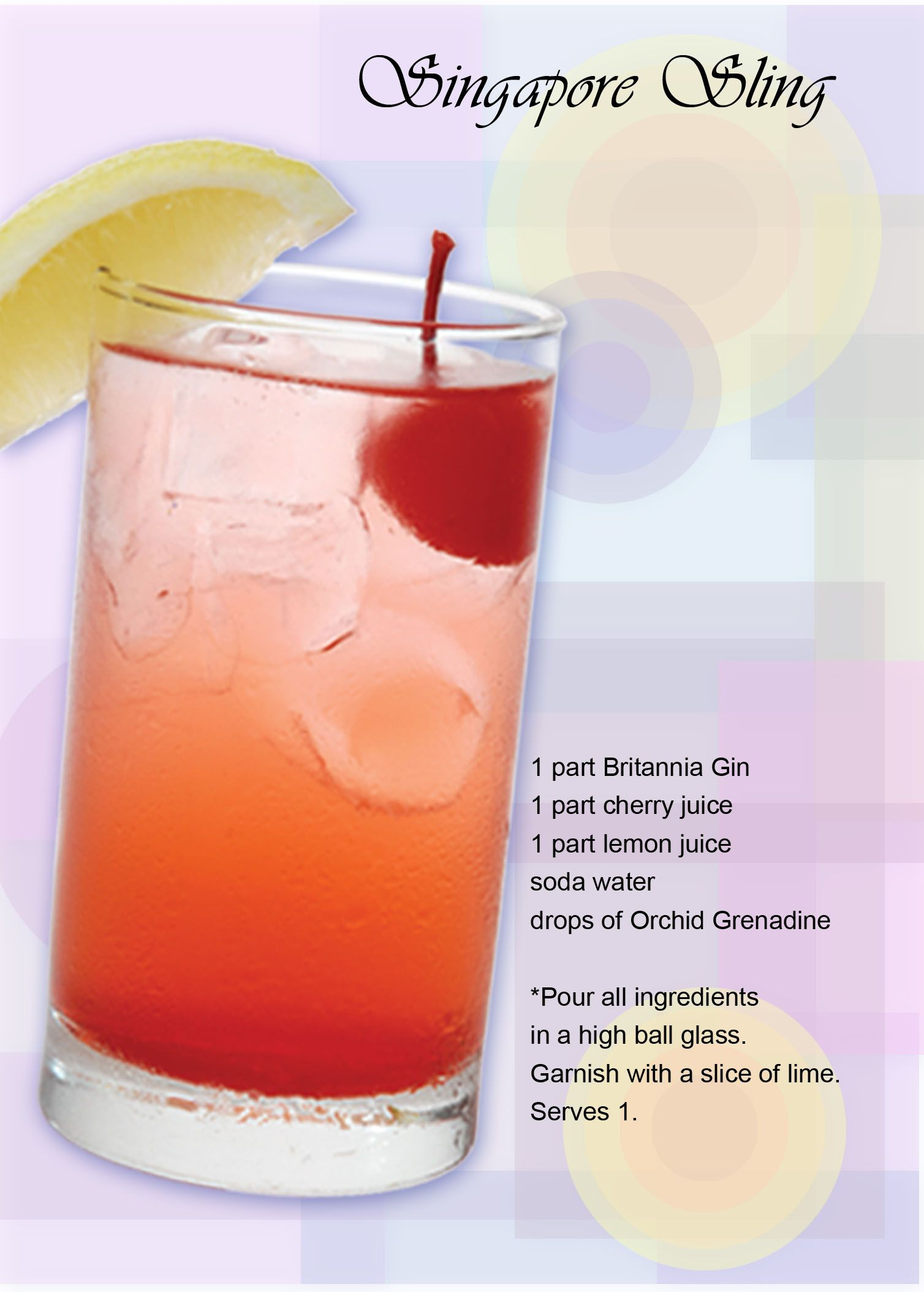 Singapore Sling ~ Ingrents: 1 part britannia Gin 1 part cherry ... on