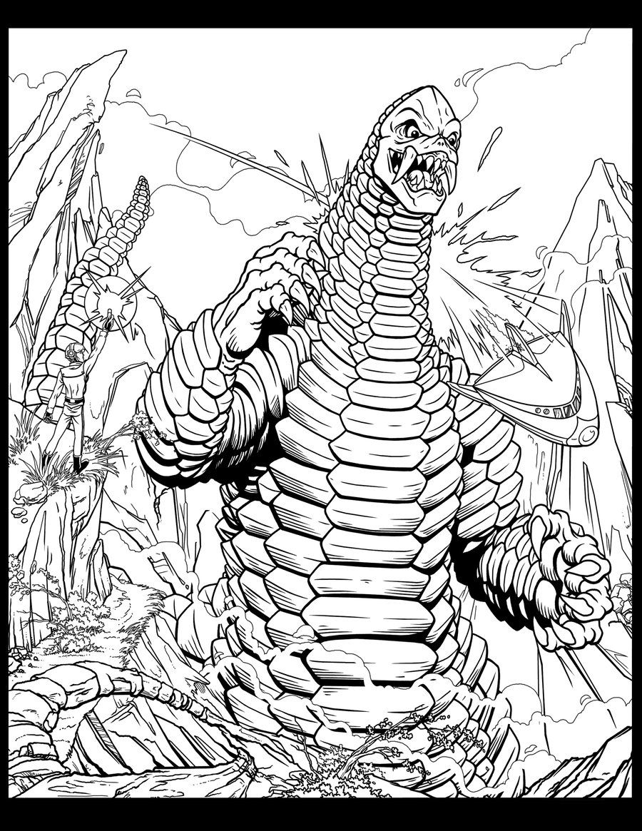 Red King By Kaijuverse On Deviantart Monster Coloring Pages Coloring Pages Sci Fi Art