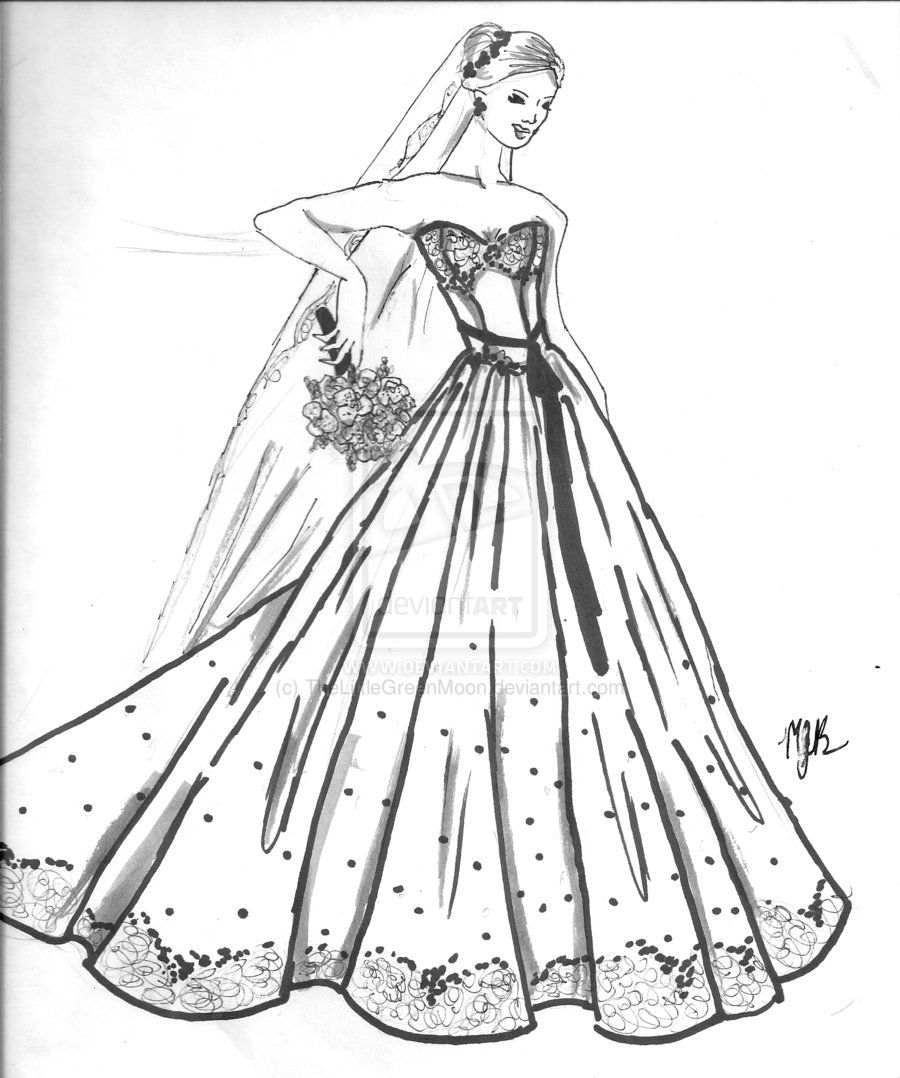 Diamonds And Lace Wedding Dress By Thelittlegreenmoon D53zloz Jpg 900 1078 Barbie Coloring Pages Wedding Coloring Pages Barbie Coloring