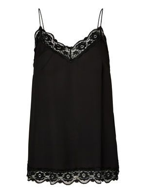 LACED SLEEVELESS BLOUSE, Black