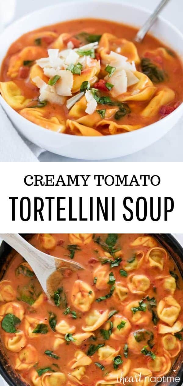 Creamy tomato tortellini soup topped with fresh parmesan and basil An easy 30minute meal that the whole family will love