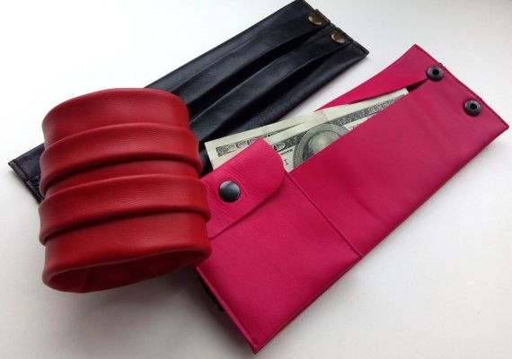Wrist wallet for credit cards / ID / money/ Journey Trip Holiday wallet Wristlet Gift for Leather purse bracelet leather cuff