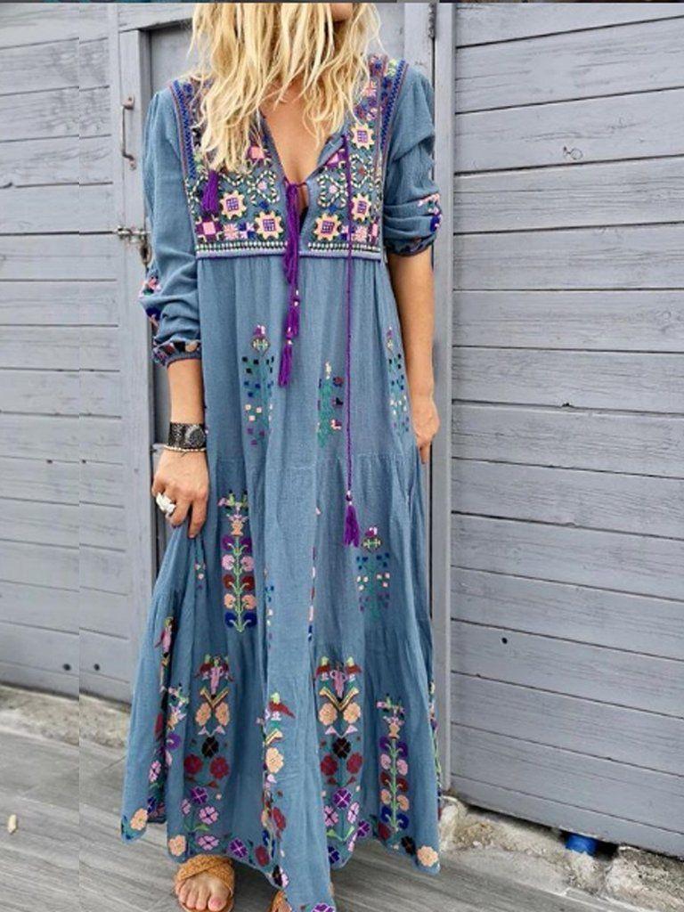 Long Sleeve Cotton Blend Casual Dresses Floral Print Maxi Dress Long Sleeve Summer Dress Long Sleeve Maxi Dress [ 1024 x 768 Pixel ]