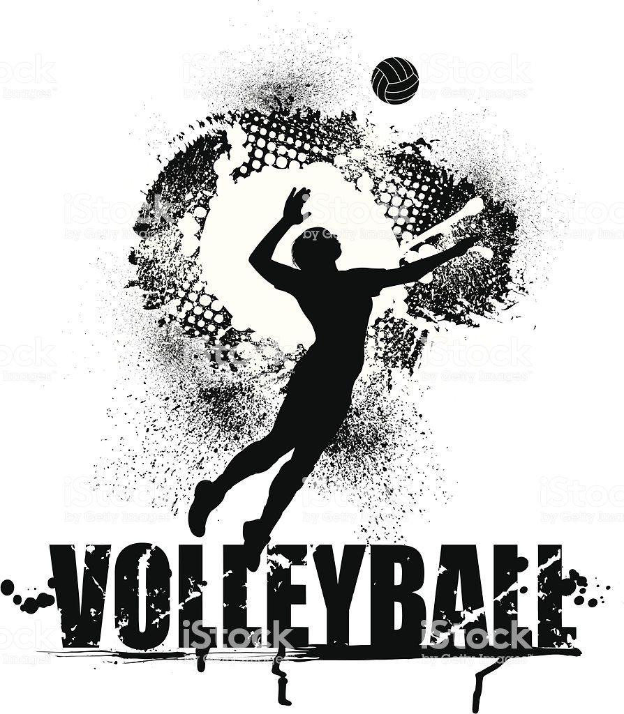 Grunge Graphic Silhouette Illustration Of Girls Volleyball Serve Em 2020 Volei