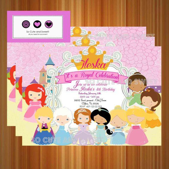 Princesses Birthday Invitation Disney Inspired Invitaciones De Cumpleanos De Princesa Fiesta De Cumpleanos Princesa Fiesta De Princesa Disney