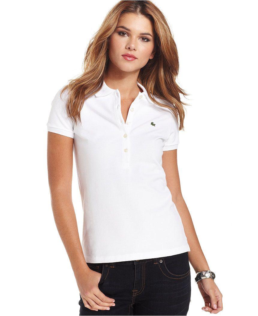 Lacoste Five-Button Slim Fit Polo - Tops - Women - Macy s bd7a1dd502