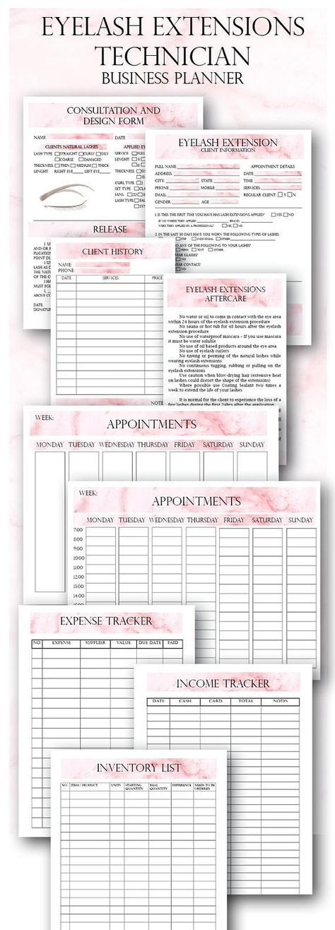 Pink Eyelash Extension Client Forms, Printable Client Information - inventory list form
