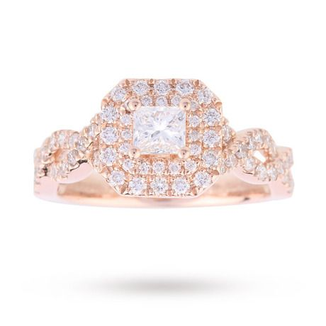 Vera Wang Love Princess Cut 0.95 Total Carat Weight Cluster and Diamond set  Shoulders Ring in