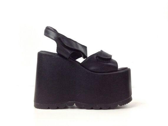 d0ba81c6a82f 90 s Question Mark Dead Stock Cyber Mega Platform Faux Leather Wedge Sandals     8 by FeelingVagueVintage