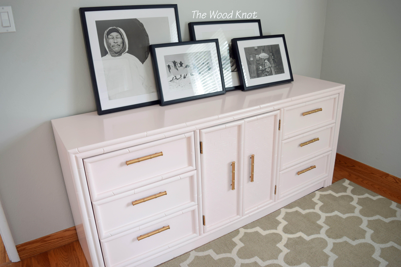 Faux Bamboo High Gloss Pink Dresser Furniture, Faux