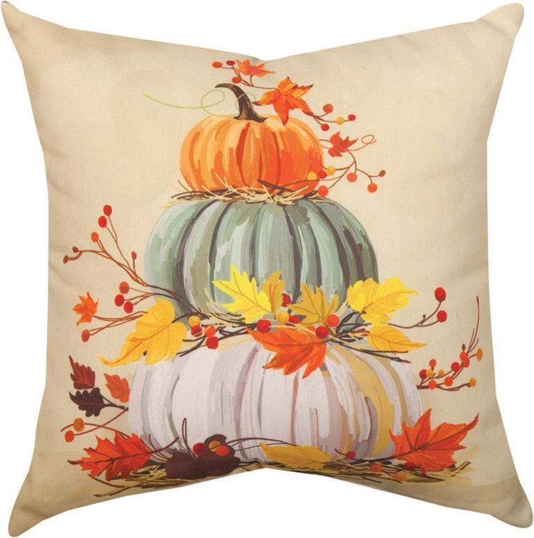 Stacked Pumpkins Indoor Outdoor Pillow