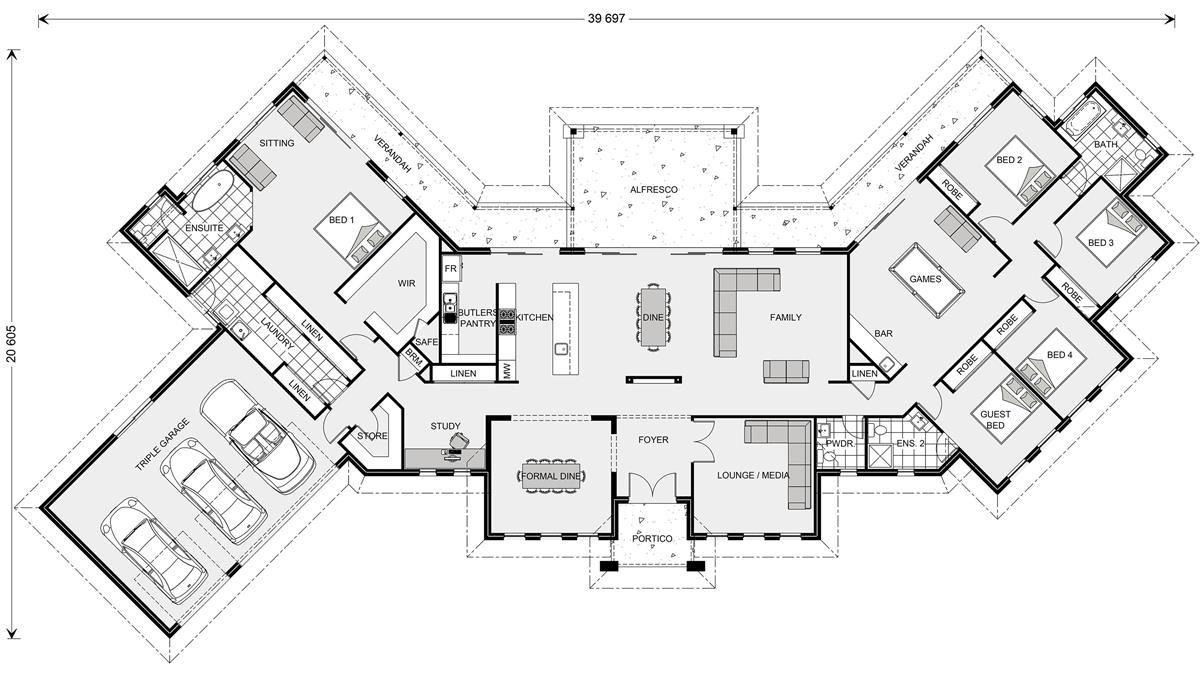 Montville 462 Prestige Home Designs In Gladstone Floor Plan Design Dream House Plans U Shaped House Plans