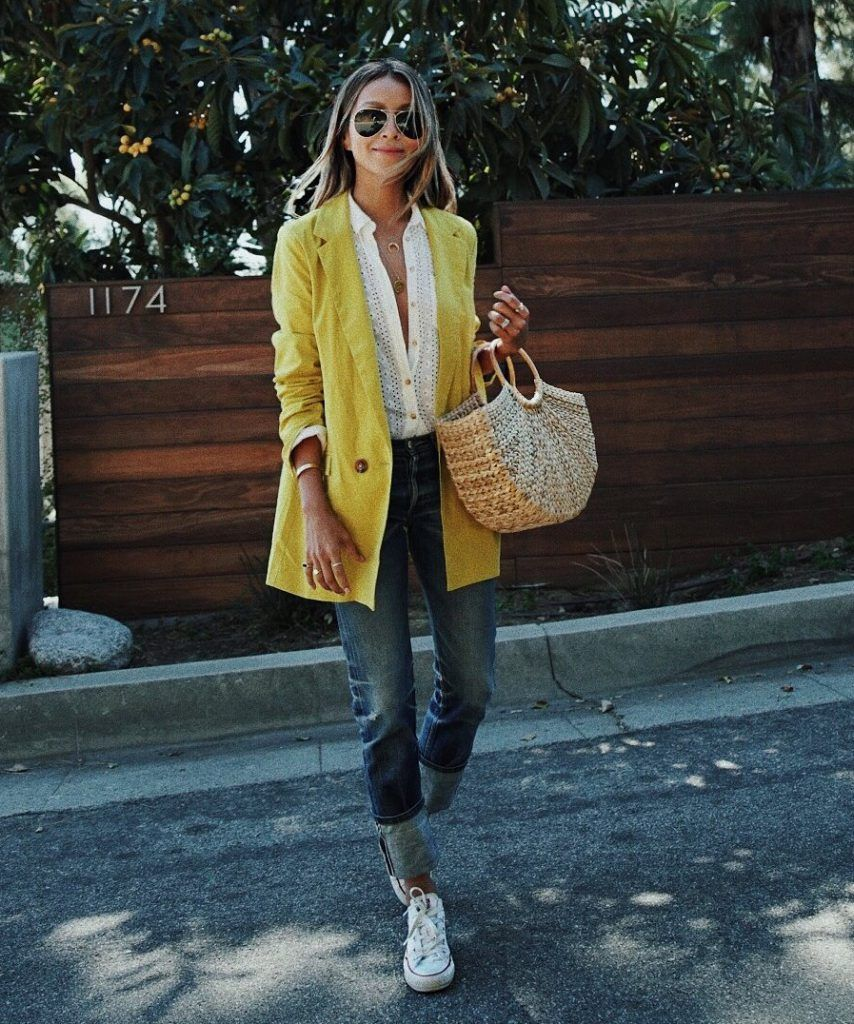 streetstyle la mode femme par sincerelyjules look pour le printemps 2018 avec veste jaune. Black Bedroom Furniture Sets. Home Design Ideas
