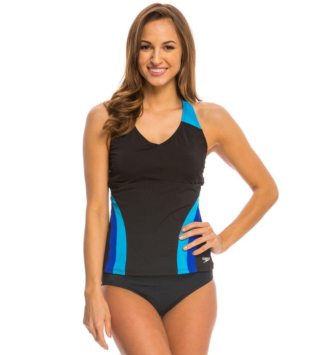 d728fa6cc39bb Reebok Women's Andie Stripe Mesh Tankini Top | DICK'S Sporting Goods | Now  that's my style. | Tankini, Bikini tops, Tankini top