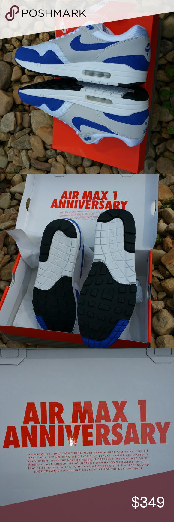 Nike Air Max 1 Anniversary Blue Sz 8.5 90837 101 Nike Air