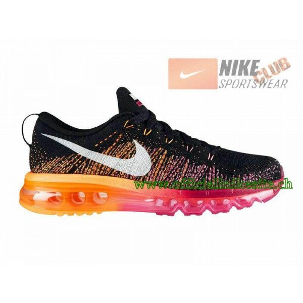 Nike Flyknit Air Max GS - Chaussure de Running Pas Cher Pour Femme  Noir/Orange
