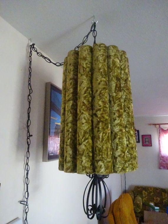 1960 39 S 1970 39 S Vintage Retro Hollywood Regency Eames Era Mid Century Shagadelic Green Crushed Velvet Psychedeli Swag Lamp Vintage Home Decor I Love Lamp
