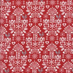 Gina Martin Folk Art Holiday Damask - 10022 14 Poppy - graceandjacob.co.uk